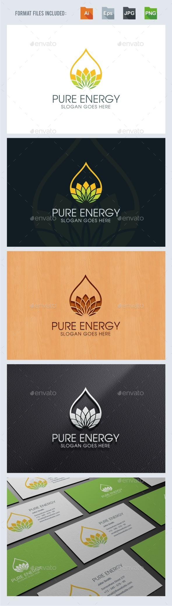 Pure - Eco Energy Logo Template - Nature Logo Templates