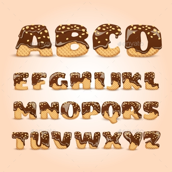 Frosted Chocolate Wafers Alphabet Letters Set - Food Objects