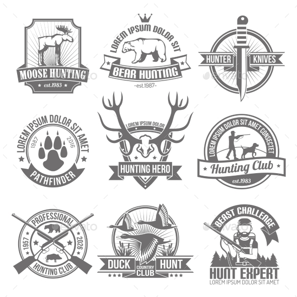 Black Hunting Emblems Set - Decorative Symbols Decorative