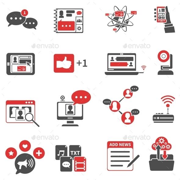Social Network Red Black Icons Set  - Web Icons