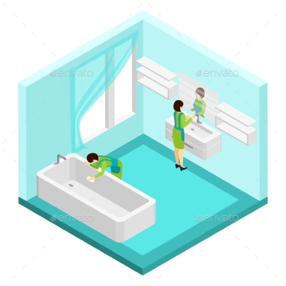 People Cleaning Bathroom Illustration  - Services Commercial / Shopping