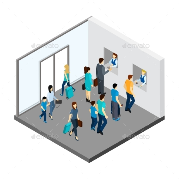 Underground People Isometric Illustration  - People Characters