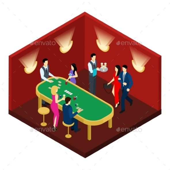 Casino and Cards Isometric Illustration  - People Characters