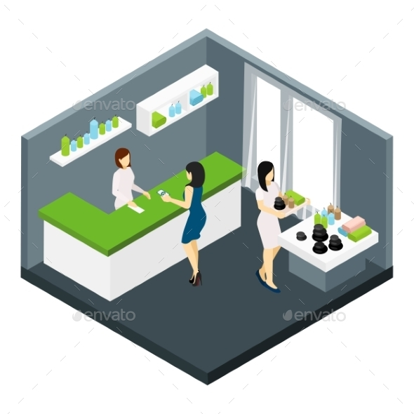 Spa Salon Isometric Illustration  - Services Commercial / Shopping