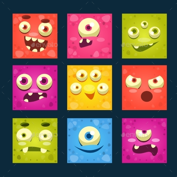 Square Cartoon Monster Faces Set - Monsters Characters