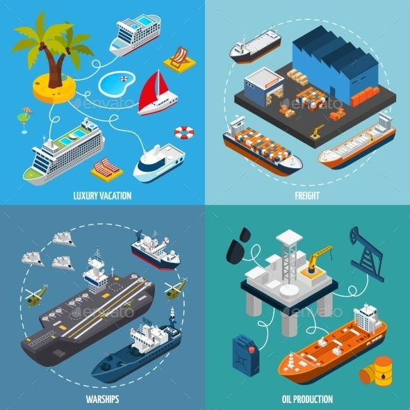 Ships Boats 4 Isometric Icons Square  - Conceptual Vectors