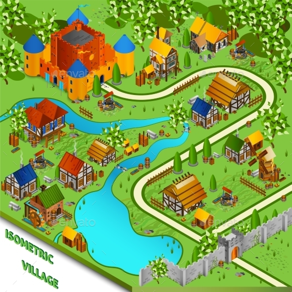 Medieval Village Isometric Landscape - Buildings Objects