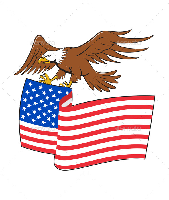 American Bald Eagle Carrying USA Flag Cartoon - Animals Characters