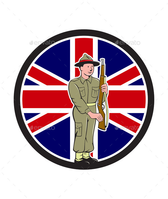British World War II Soldier Union Jack Flag Cartoon - People Characters