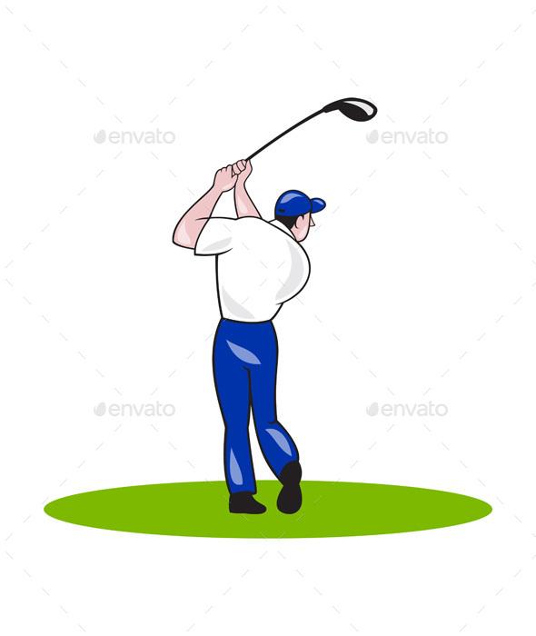 Golfer Swinging Club Cartoon - Sports/Activity Conceptual