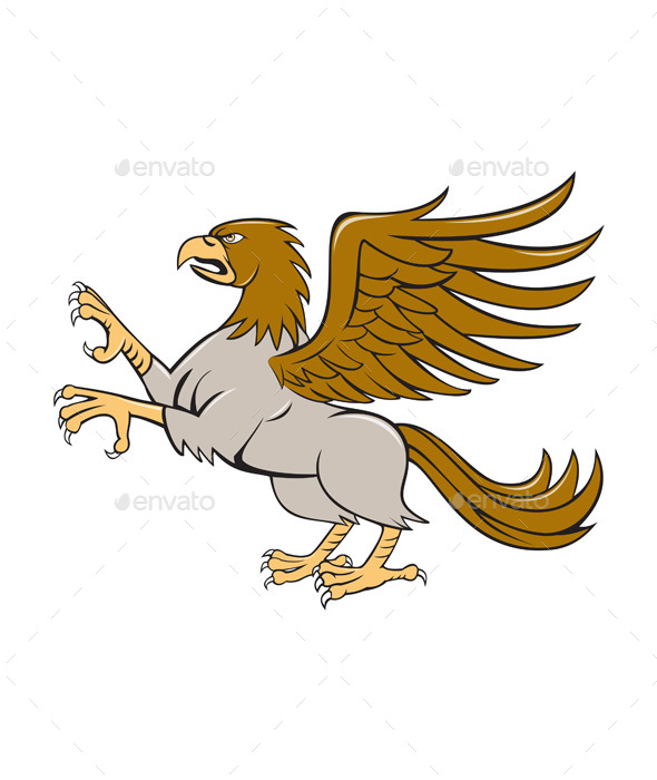 Hippogriff Prancing Side Isolated Cartoon - Animals Characters