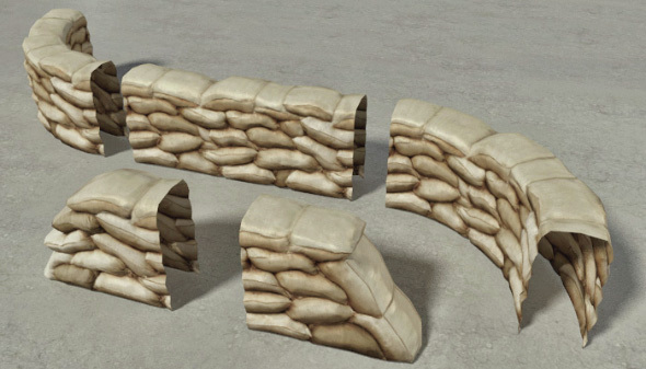 Sandbags Wall Construction Kit - 3DOcean Item for Sale