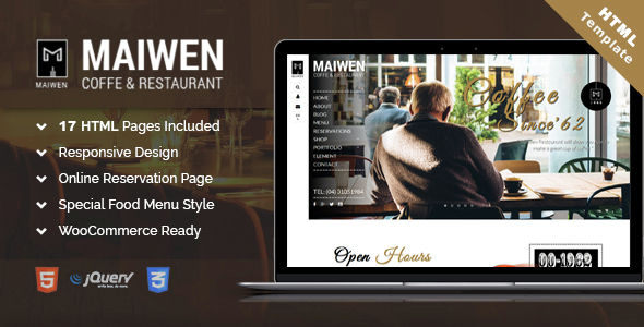 Maiwen Coffee and Restaurant HTML5 template