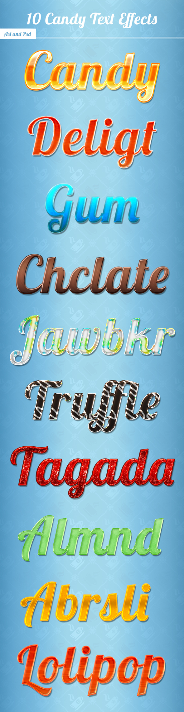 10 Candy Text Effects - Text Effects Styles