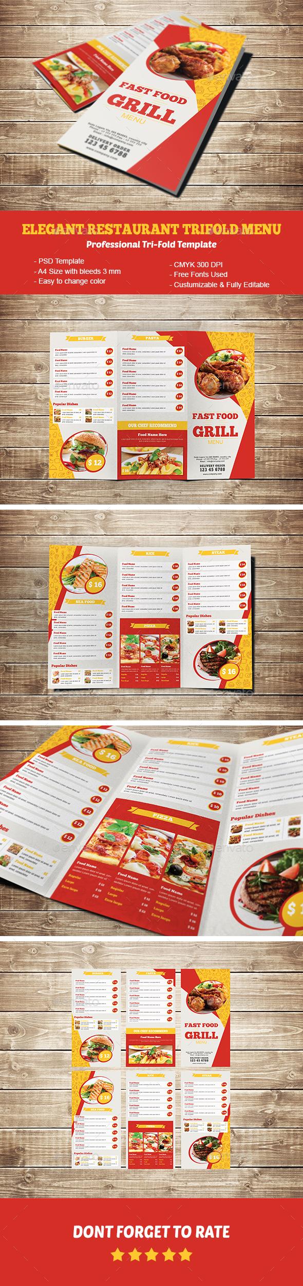 Elegant Restaurant Trifold Menu - Food Menus Print Templates