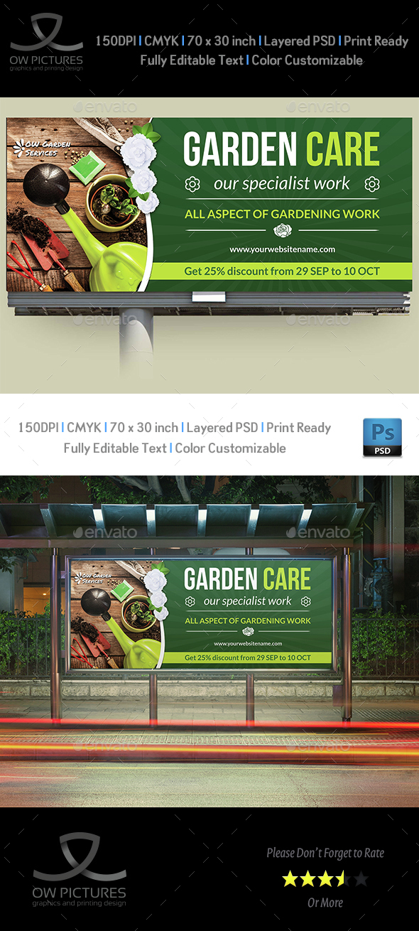 Garden Services Billboard Template - Signage Print Templates