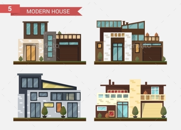 Flat Illustration Traditional and Modern - Buildings Objects
