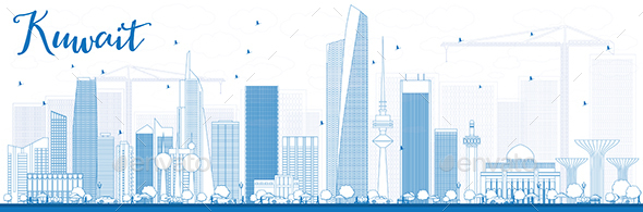 Outline Kuwait City Skyline with Blue Buildings - Buildings Objects