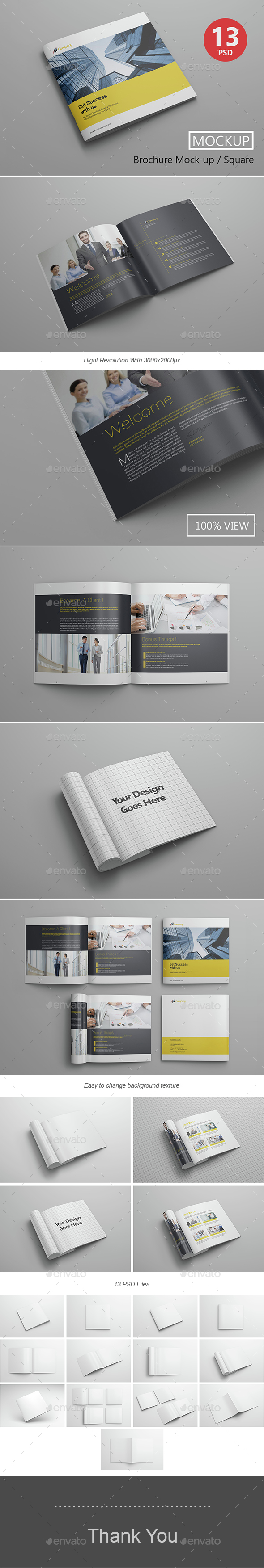 Brochure Mockup / Square - Product Mock-Ups Graphics