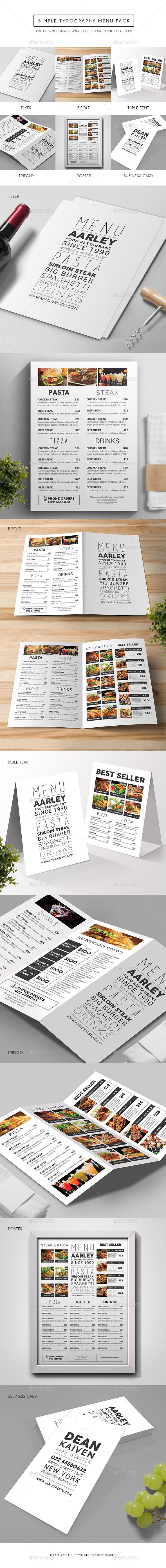 Simple Typography Menu Pack - Food Menus Print Templates