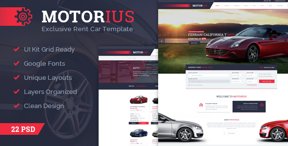 Motorius — Exclusive Sell/Rent Cars PSD Template