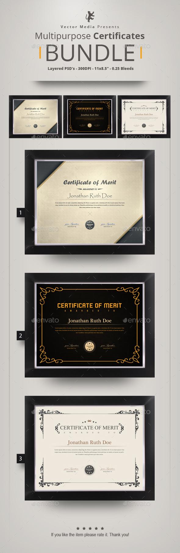 Multipurpose Certificates - Bundle - Certificates Stationery