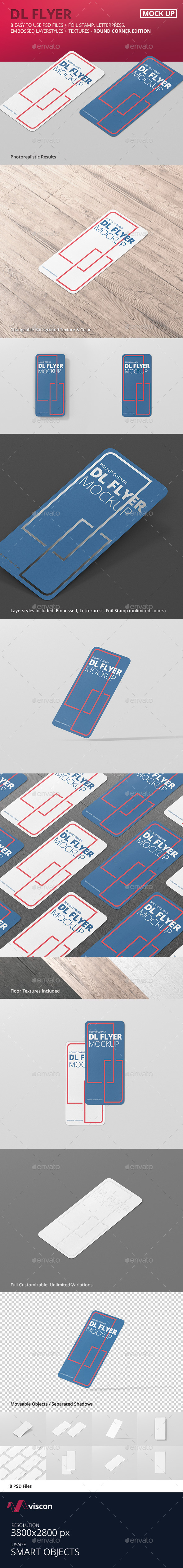 DL Vertical Flyer Round Corner Mockup - Flyers Print