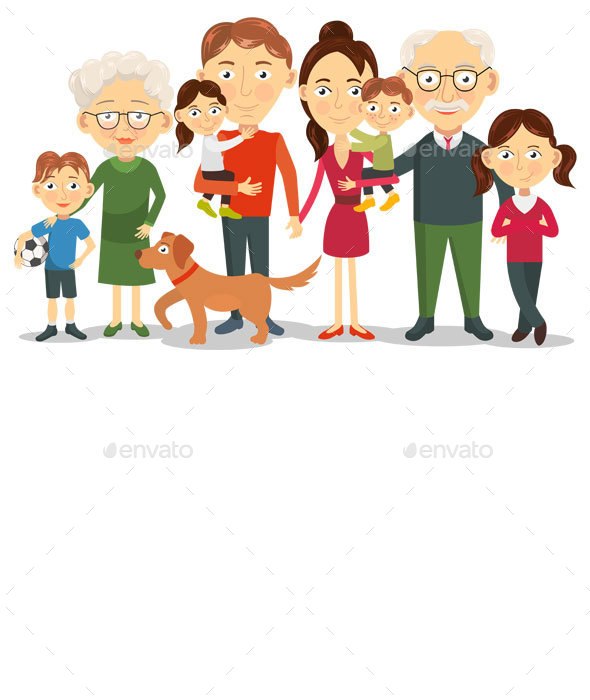 Big and Happy Family Portrait - People Characters