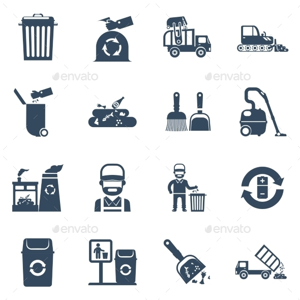 Garbage Disposal  Black Icons - Miscellaneous Conceptual