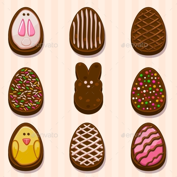 Happy Easter Chocolate Cookies - Decorative Symbols Decorative