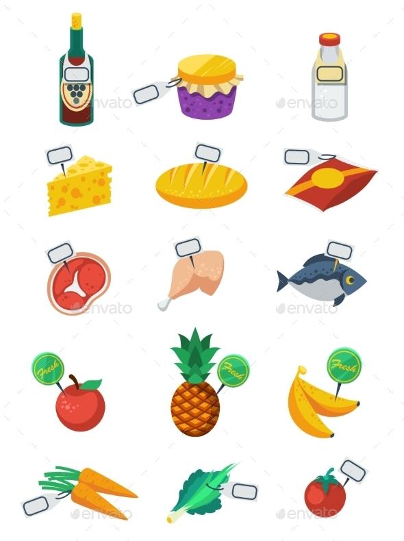 Supermarket Flat Color Icons Set  - Decorative Symbols Decorative