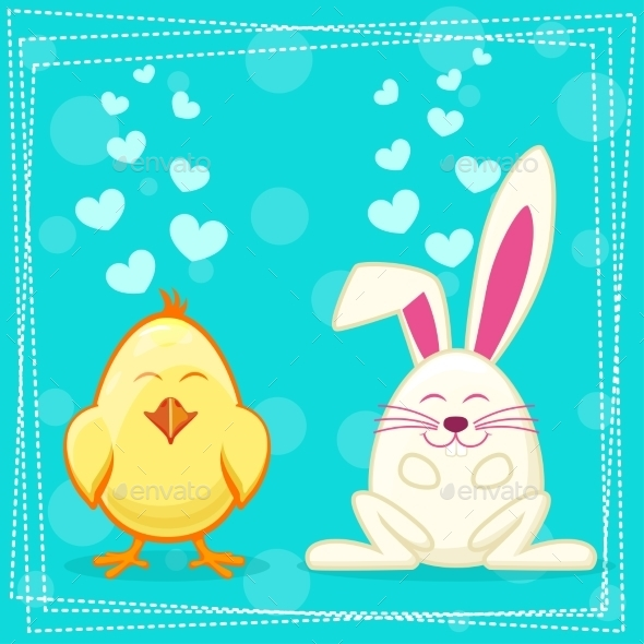 Yellow Cartoon Chicken and Rabbit - Animals Characters