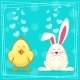 Yellow Cartoon Chicken and Rabbit - GraphicRiver Item for Sale
