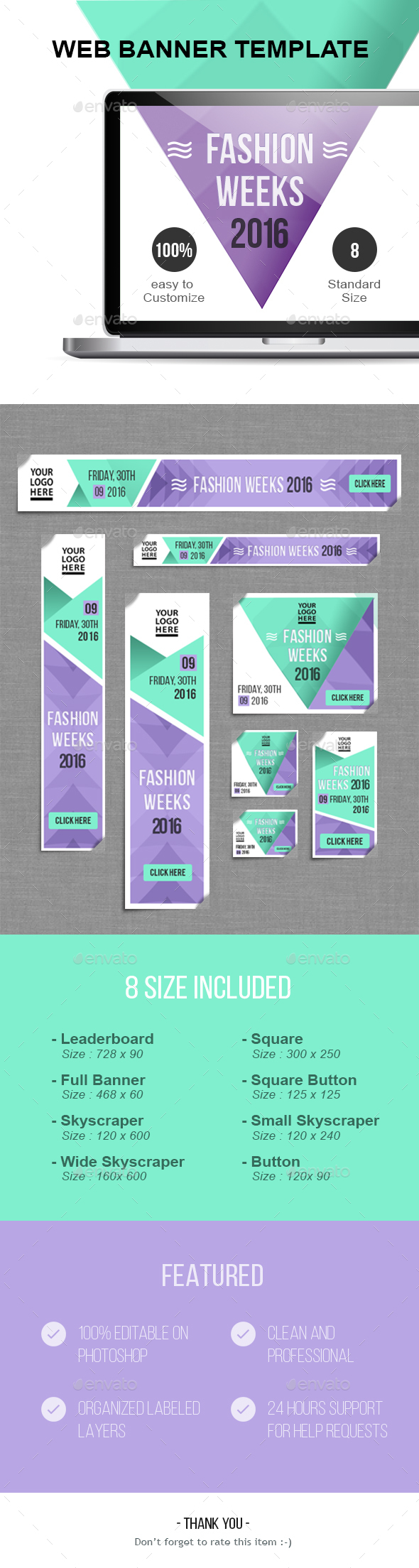 Fashion Weeks Baner Template - Banners & Ads Web Elements