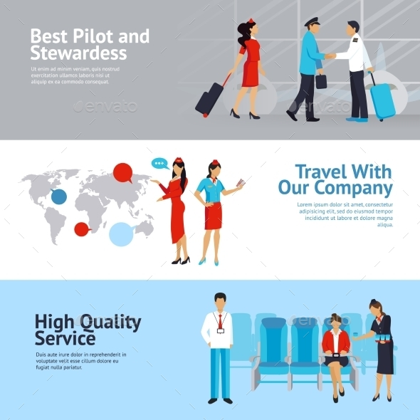 Airlines Banners Set  - Travel Conceptual