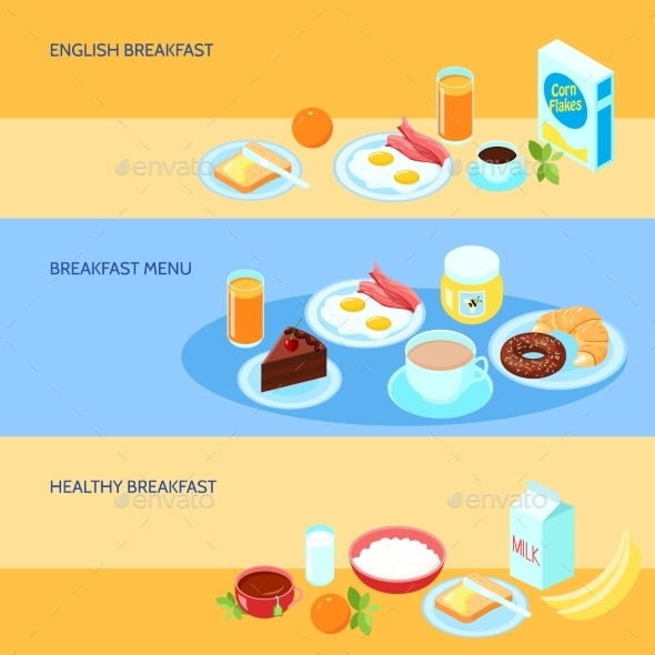 Breakfast Flat Set - Food Objects