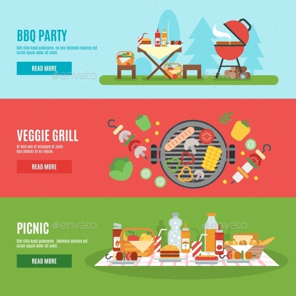 BBQ Party Banner Set - Food Objects