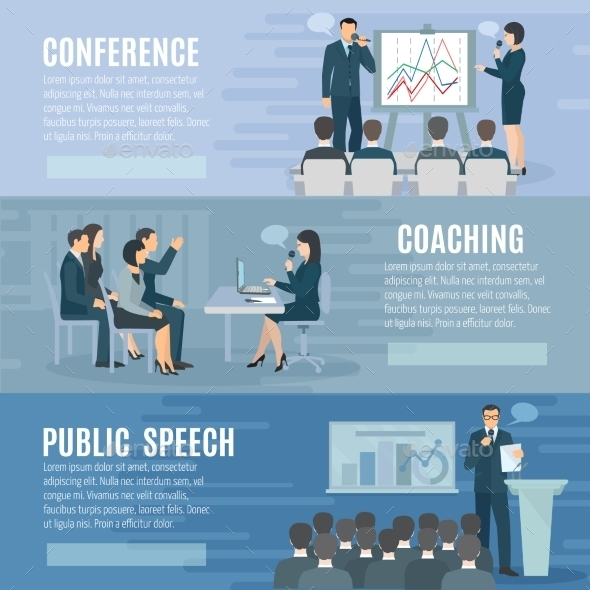 Public Speaking Flat Horizontal Banners Set  - Backgrounds Business