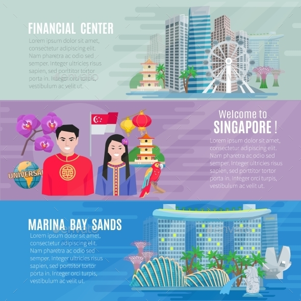Singapore Culture 3 Horizontal Banners Set  - Travel Conceptual
