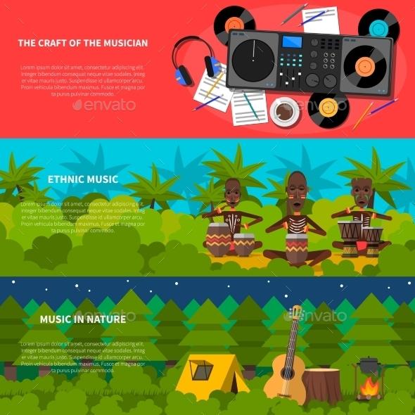 Ethnic Music Flat Horizontal Banners Set - Miscellaneous Conceptual