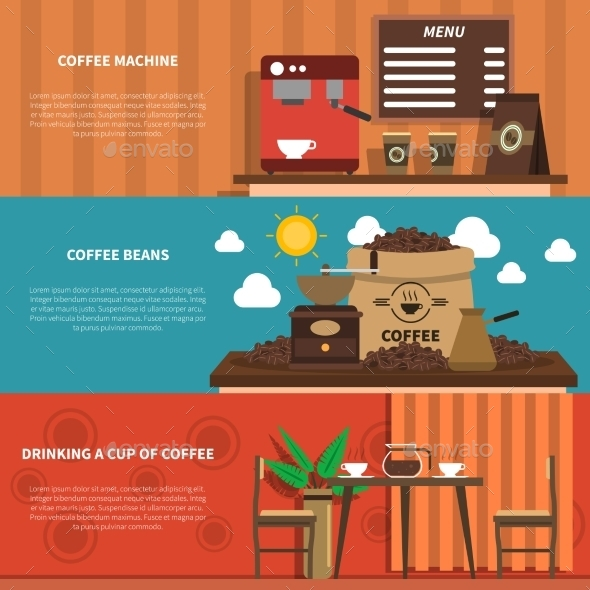 Coffee Bar 2 Flat Horizontal Banners  - Miscellaneous Conceptual