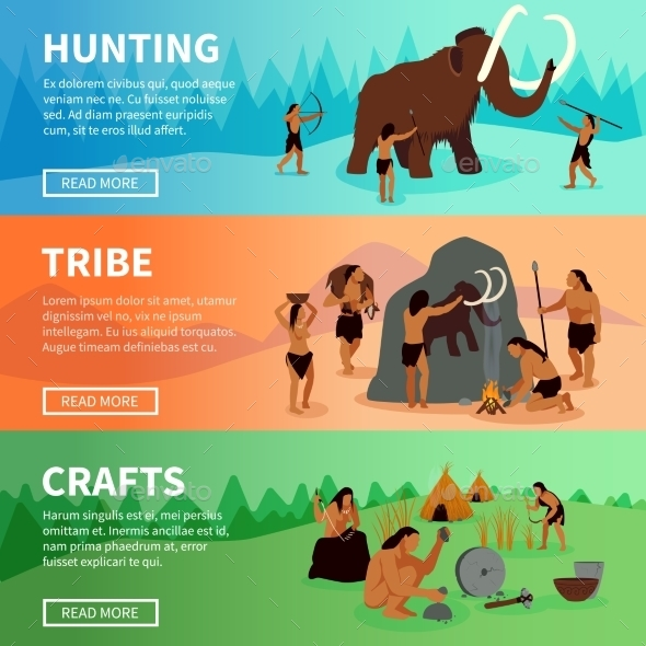 Prehistoric Stone Age Caveman Banners - Miscellaneous Conceptual