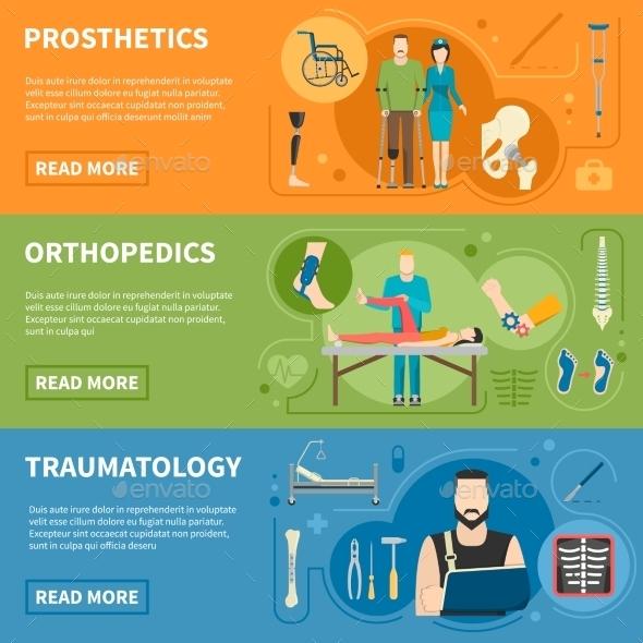 Horizontal Banners of Traumatology Orthopedics - Health/Medicine Conceptual