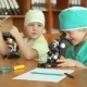 Children Play With a Microscope - VideoHive Item for Sale