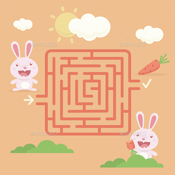 Labyrinth Rabbit with Carrot - Animals Characters