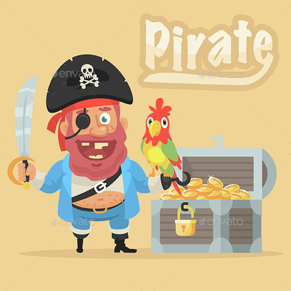 Pirate with Parrot and Chest with Gold - People Characters
