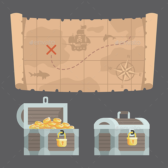 Treasure Map and Chest with Gold - Man-made Objects Objects
