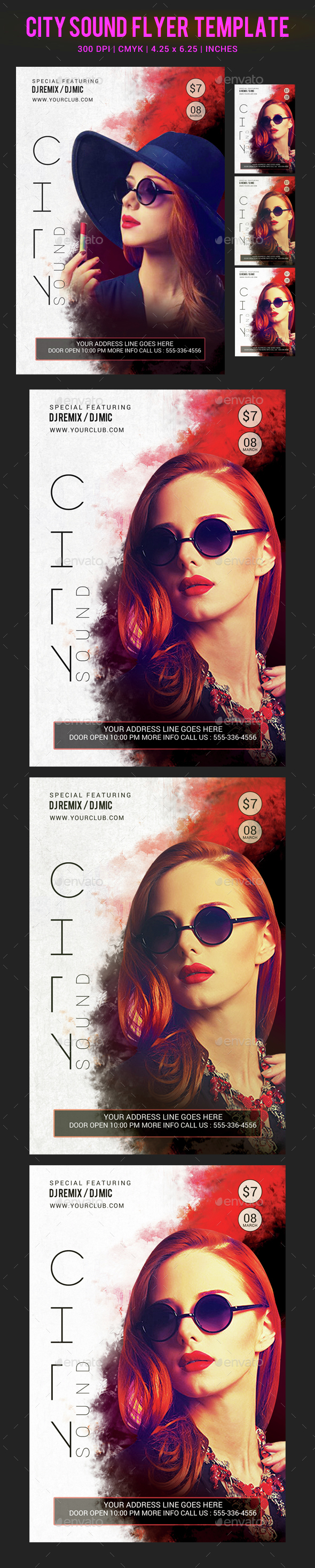 City Sound Party Flyer Template - Clubs & Parties Events