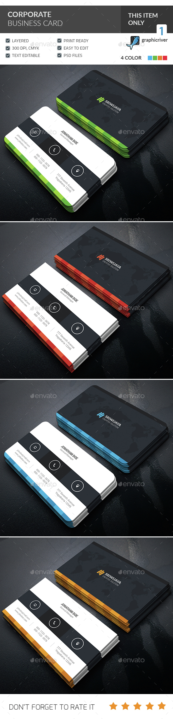 Creative Multicolor Business Card  - Corporate Business Cards