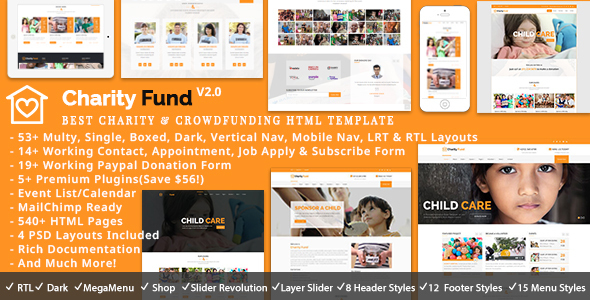 CharityFund – Charity, Nonprofit, Fundraising & Crowdfunding Responsive HTML5 Template